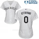 Camiseta Beisbol Mujer Colorado Rockies Adam Ottavino 0 Blanco Autentico Coleccion Cool Base