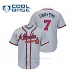 Camiseta Beisbol Hombre Atlanta Braves Dansby Swanson Cool Base Majestic Road 2019 Gris