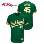 Camiseta Beisbol Hombre Oakland Athletics Jharel Cotton 150th Aniversario Patch Flex Base Kelly Verde