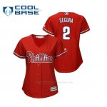 Camiseta Beisbol Mujer Philadelphia Phillies Jean Segura Cool Base Majestic Alternato Rojo