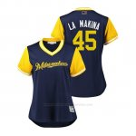 Camiseta Beisbol Mujer Milwaukee Brewers Jhoulys Chacin 2018 Llws Players Weekend La Makina Azul