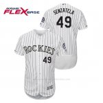 Camiseta Beisbol Hombre Colorado Rockies Antonio Senzatela 150th Aniversario Patch Flex Base Blanco