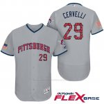 Camiseta Beisbol Hombre Pittsburgh Pirates 2017 Estrellas y Rayas Francisco Cervelli Gris Flex Base