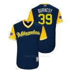 Camiseta Beisbol Hombre Milwaukee Brewers Corbin Burnes 2018 Llws Players Weekend Burnesy Azul
