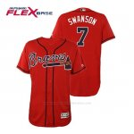 Camiseta Beisbol Hombre Atlanta Braves Dansby Swanson Flex Base Autentico Collezione Alternato 2019 Rojo