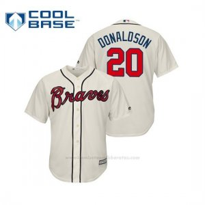 Camiseta Beisbol Hombre Atlanta Braves Josh Donaldson Cool Base Official Alternato Crema