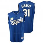 Camiseta Beisbol Hombre Kansas City Royals Ian Kennedy Throwback Turn Ahead Azul