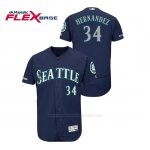 Camiseta Beisbol Hombre Seattle Mariners Felix Hernandez 150th Aniversario Patch Autentico Flex Base Azul