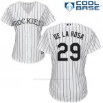 Camiseta Beisbol Mujer Colorado Rockies Jorge De La Rosa 29 Blanco Autentico Coleccion Cool Base