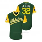 Camiseta Beisbol Hombre Oakland Athletics Jeurys Familia 2018 Llws Players Weekend La Fama Green