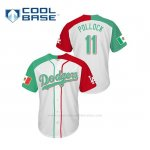 Camiseta Beisbol Hombre Los Angeles Dodgers A.j. Pollock Mexican Heritage Night Cool Base Blanco