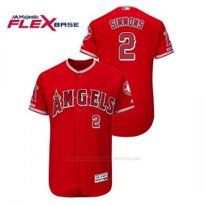 Camiseta Beisbol Hombre Los Angeles Angels Andrelton Simmons 150th Aniversario Patch Flex Base Rojo