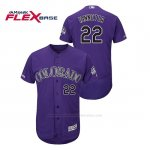Camiseta Beisbol Hombre Colorado Rockies Chris Iannetta 150th Aniversario Patch Flex Base Violeta