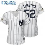 Camiseta Beisbol Mujer New York Yankees 2017 Postemporada C.c. Sabathia Blanco Cool Base