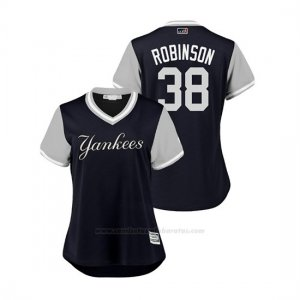 Camiseta Beisbol Mujer New York Yankees Shane Robinson 2018 Llws Players Weekend Robinson Azul