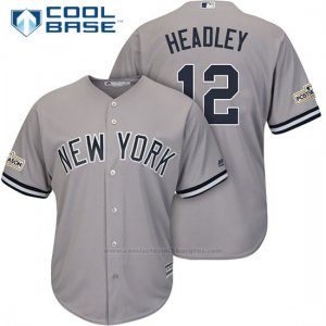 Camiseta Beisbol Hombre New York Yankees 2017 Postemporada Chase Headley Gris Cool Base
