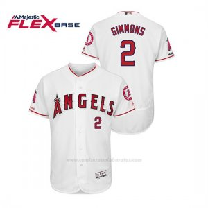 Camiseta Beisbol Hombre Los Angeles Angels Andrelton Simmons 150th Aniversario Patch Flex Base Blanco