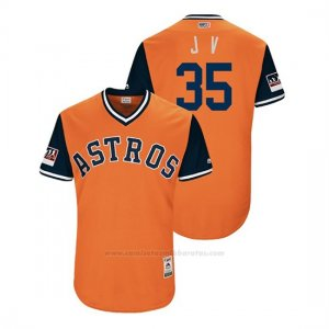 Camiseta Beisbol Hombre Houston Astros Justin Verlander 2018 Llws Players Weekend J V Orange