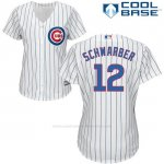 Camiseta Beisbol Mujer Chicago Cubs 12 Kyle Schwarber Cool Base Blanco