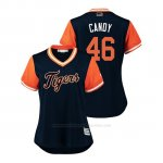 Camiseta Beisbol Mujer Detroit Tigers Jeimer Candelario 2018 Llws Players Weekend Candy Azul