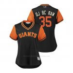 Camiseta Beisbol Mujer San Francisco Giants Brandon Crawford 2018 Llws Players Weekend Dj Bc Raw Negro