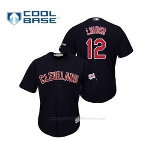 Camiseta Beisbol Hombre Cleveland Indians Francisco Lindor 2019 All Star Game Patch Cool Base Azul