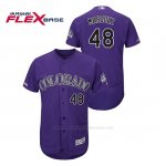 Camiseta Beisbol Hombre Colorado Rockies German Marquez 150th Aniversario Patch Flex Base Violeta