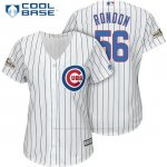 Camiseta Beisbol Mujer Chicago Cubs 2017 Postemporada 56 Hector Rondon Blanco Cool Base
