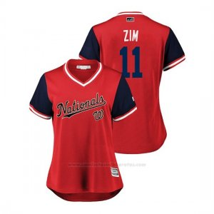 Camiseta Beisbol Mujer Washington Nationals Ryan Zimmerman 2018 Llws Players Weekend Zim Rojo