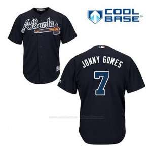 Camiseta Beisbol Hombre Atlanta Braves 7 Jonny Gomes Azul Alterno Cool Base