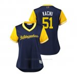 Camiseta Beisbol Mujer Milwaukee Brewers Freddy Peralta 2018 Llws Players Weekend Kaciki Azul