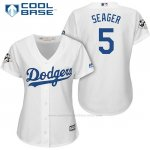 Camiseta Beisbol Mujer Los Angeles Dodgers 2017 World Series Corey Seager Blanco Cool Base