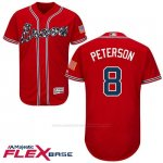 Camiseta Beisbol Hombre Atlanta Braves 8 Jace Peterson Scarlet Autentico Coleccion Flex Base