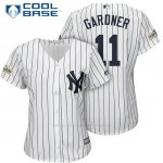 Camiseta Beisbol Mujer New York Yankees 2017 Postemporada Brett Gardner Blanco Cool Base