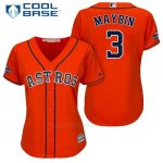 Camiseta Beisbol Mujer Houston Astros 2017 World Series Campeones Cameron Maybin Naranja Cool Base
