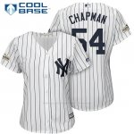 Camiseta Beisbol Mujer New York Yankees 2017 Postemporada Aroldis Chapman Blanco Cool Base