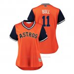 Camiseta Beisbol Mujer Houston Astros Evan Gattis 2018 Llws Players Weekend Bull Orange