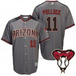 Camiseta Beisbol Hombre Arizona Diamondbacks 11 A.J. Pollock Gris Road