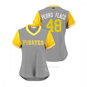Camiseta Beisbol Mujer Pittsburgh Pirates Richard Rodriguez 2018 Llws Players Weekend Perro Flaco Gris