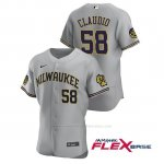 Camiseta Beisbol Hombre Milwaukee Brewers Alex Claudio Autentico 2020 Road Gris