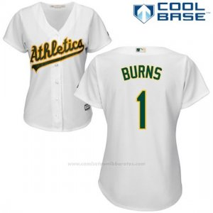 Camiseta Beisbol Mujer Oakland Athletics Billy Burns Blanco Autentico Coleccion Cool Base