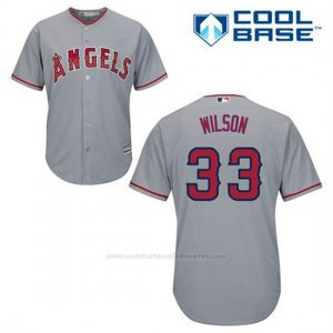 Camiseta Beisbol Hombre Los Angeles Angels C.j. Wilson 33 Gris Cool Base
