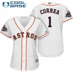 Camiseta Beisbol Mujer Houston Astros 2017 World Series Campeones Carlos Correa Blanco Cool Base