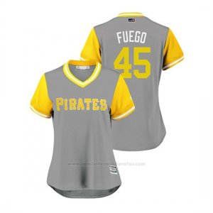 Camiseta Beisbol Mujer Pittsburgh Pirates Michael Feliz 2018 Llws Players Weekend Fuego Gris