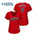 Camiseta Beisbol Mujer Indians Lonnie Chisenhall Cool Base Majestic Alternato 2019 Rojo