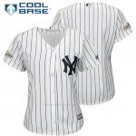 Camiseta Beisbol Mujer New York Yankees 2017 Postemporada Blanco Cool Base