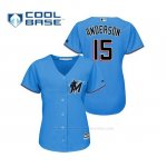Camiseta Beisbol Mujer Miami Marlins Brian Anderson Cool Base Majestic 2019 Azul