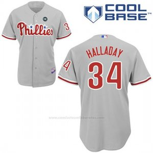 Camiseta Beisbol Hombre Philadelphia Phillies Roy Halladay Gris Cool Base Jugador
