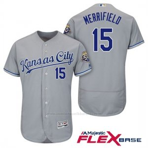Camiseta Beisbol Hombre Kansas City Royals Whit Merrifield Gris 50th Season Flex Base
