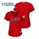 Camiseta Beisbol Mujer Cleveland Indians 2019 All Star Game Patch Cool Base Alternato Personalizada Rojo